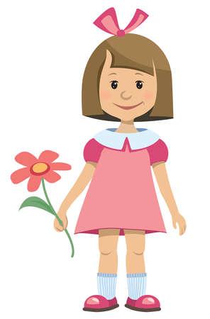 Little girl in pink dress with a flower - vector illustration Illustration