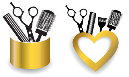 Hair salon with scissors and comb with heart. Vector Illustration.