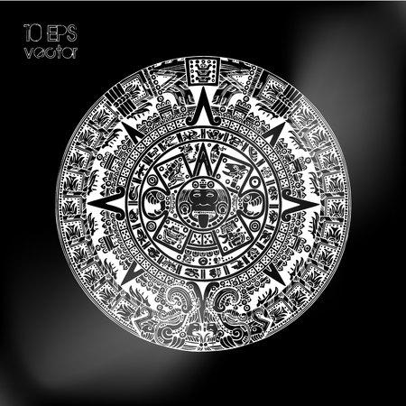 vector mayan calendar Çizim