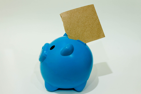 credit crunch: Blue piggy bank or money box isolated on a white  background . Stock Photo