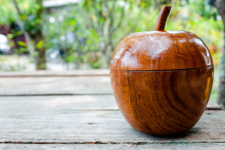 wooden lid: Old wooden box as apple shape,  decoration vintage .