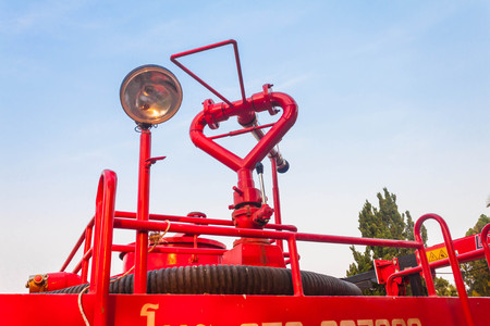 antique fire truck: Fire truck ready for deployment Stock Photo