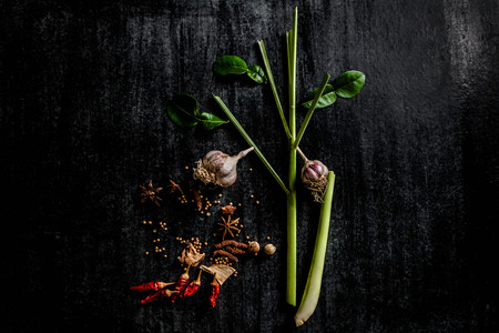 thai herb: Herbs and spices around empty cutting board on dark stone background,cooking concept,Thailand. Stock Photo