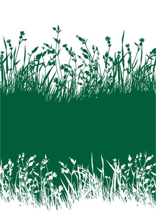 Flowery meadow skyline wallpaper Stock Vector - 16335030