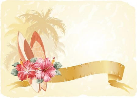 hawaii islands: Surfboarding banner with hibiscus