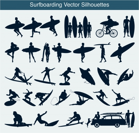 surfer silhouette: Surfboarding silhouettes