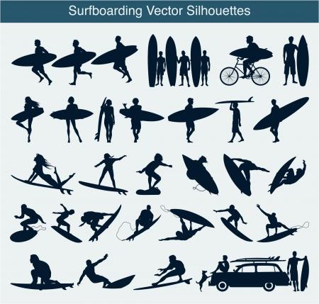 chica surf: Surfboarding siluetas Vectores