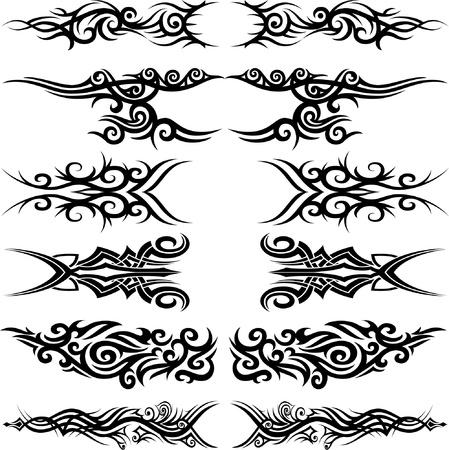 dessin tribal: Ensemble de 6 tatouages ??tribaux diff�rents dans le style Maoori Illustration