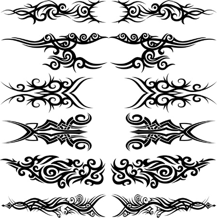Set of 6 different  tribal tattoo in Maoori style Vector