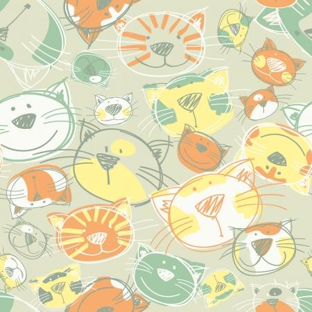 Cute Kittens seamless pattern Illustration