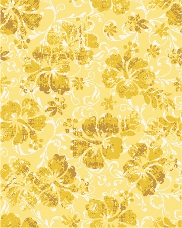 Grunge hibiscus flowers seamless pattern Vector