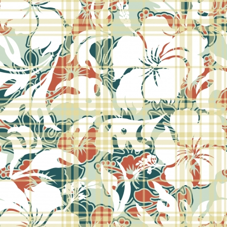Seamless pattern with hibiscus and tartan plaid texture