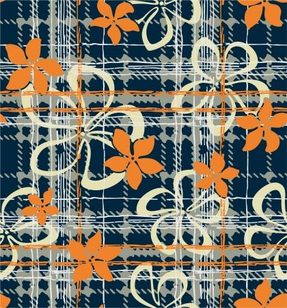 Frangipani flowers with grunge tartan texture Illustration