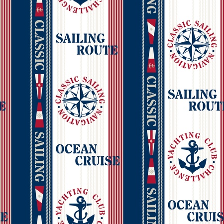 Sailing pattern - Navigation elements seamless pattern Vector