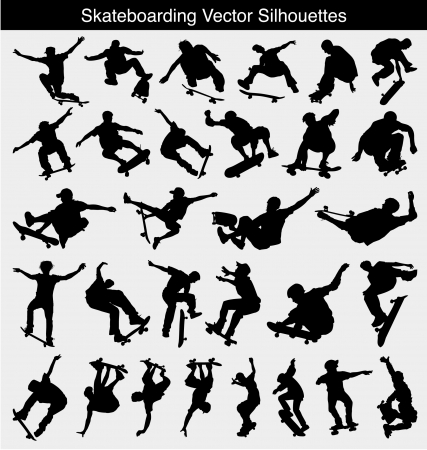 skateboard: Collection of 30 different skateboarder silhouettes Illustration