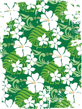 surfing beach: Grunge Hibiscuses label - Vector floral wallpaper