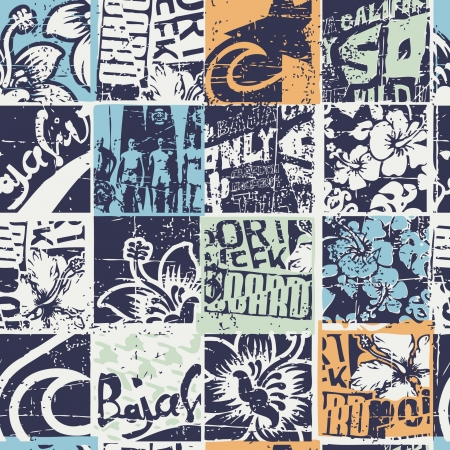 travel collage: Surfing patchwork, grunge  vector seamless pattern  Illustration