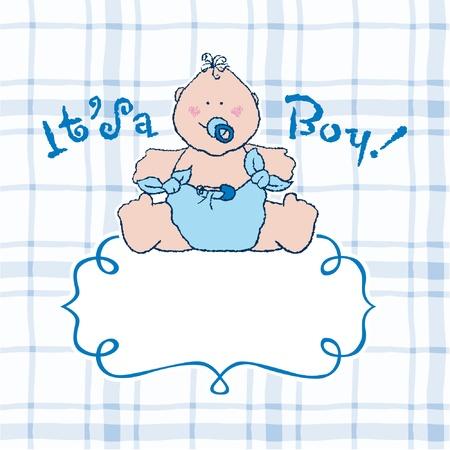 it s a boy: It s a boy vector announcement card