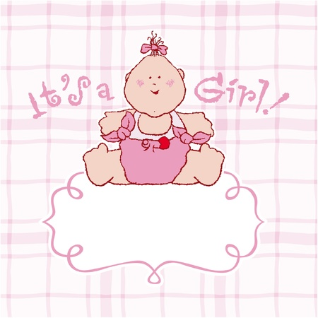 it s a girl: It s a girl vector announcement card