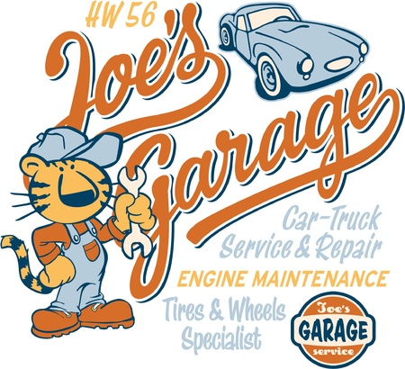 t shirt printing: Joe s garage,  artwork for kid t shirt in custom colors