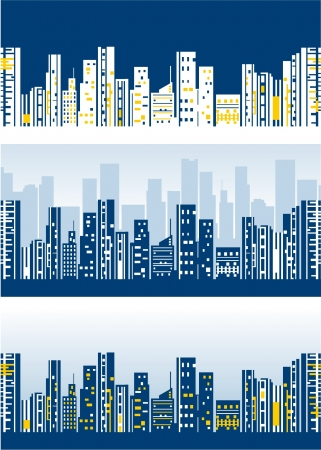 Stylized city skylines wallpaper Stock Vector - 18143684