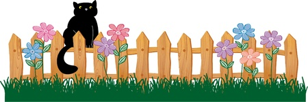 fun grass: Cute Black cat on a fence Illustration