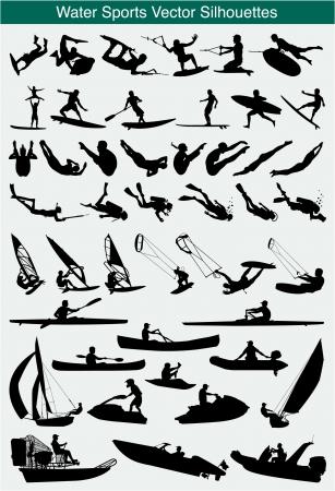 pirag�ismo: Colecci�n de siluetas de diferentes deportes acu�ticos
