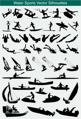 wind surfing: Collection of different water sports silhouettes Illustration
