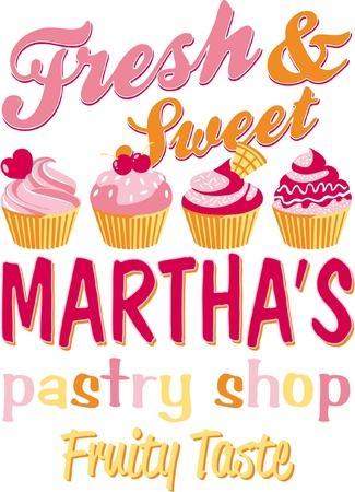 Martha s pastry shop - Vector artwork for girl wear in custom color Vector