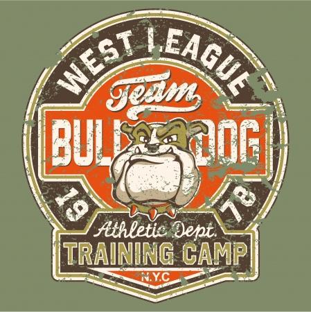 Bulldog voetbalteam - Kunstwerk voor jongen dragen in aangepaste kleuren - Grunge effect in afzonderlijke laag Vector Illustratie