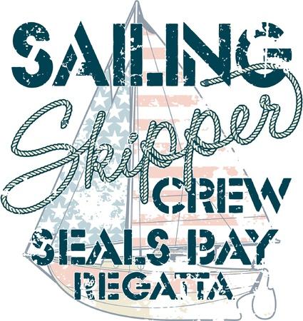 deportes nauticos: Tripulaci�n Vela - arte marino para la camisa de chico t en colores personalizados Vectores