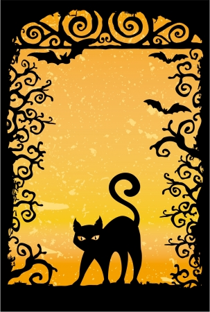 halloween background: Cute black cat vector grunge wallpaper  Illustration