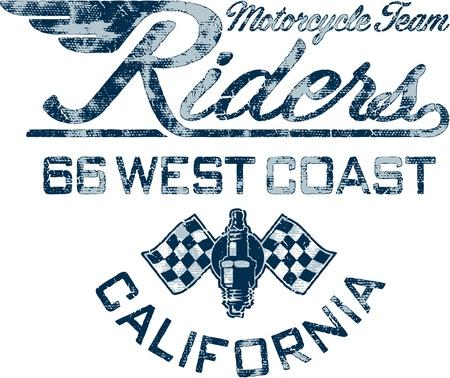 t shirt print: Jinete de la motocicleta - Ilustraciones del vintage para el muchacho camiseta en colores personalizados Vectores