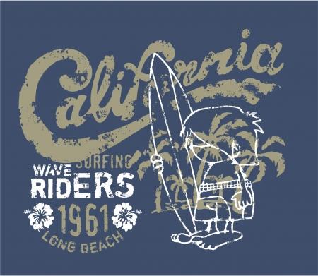 California surfer te wachten op de golf - artwork voor t-shirt kinderen in aangepaste kleuren Vector Illustratie