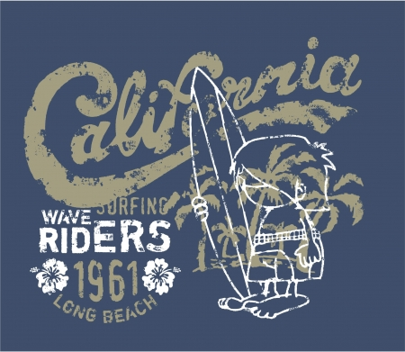 California surfer waiting for the wave - artwork for kids t-shirt in  custom colors Vector