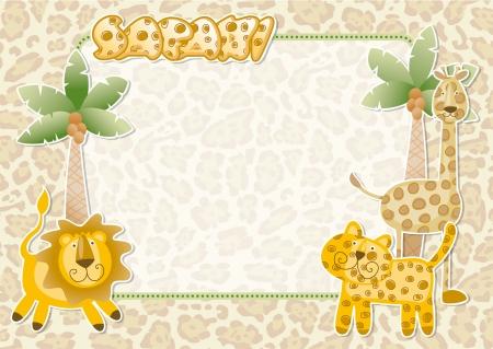 Lindo safari wallpaper - Parte tarjeta de invitación de los animales salvajes Ilustración de vector