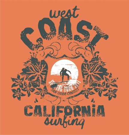 surf silhouettes: California surf azienda-grafica per t-shirt in colori personalizzati Vettoriali