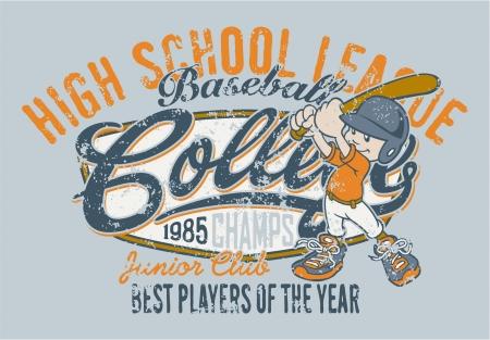escuela caricatura: Jugador de b�isbol linda - obra de arte para los ni�os usan en colores personalizados - efecto grunge en capa separada