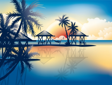 Relaxing in hammock on a tropical beach wallpaper Vector