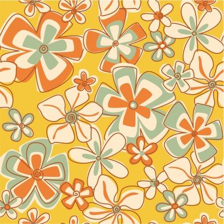 ビンテージ抽象的な花 - 花のシームレスなパターンの壁紙  イラスト・ベクター素材