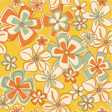 빈티지 초록 꽃 - 플로랄 원활한 패턴 벽지