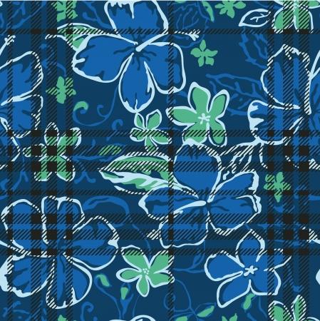 히비스커스와 타탄 체크 무늬 텍스처와 원활한 패턴