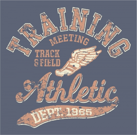 sport wear: Athletic department  - vintage vector artwork for sportswear in custom colors, grunge effect in separate layer
