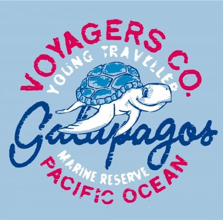 갈라파고스 거북이 - 어린이를위한 grunge 아트웍 사용자 지정 색상으로 착용
