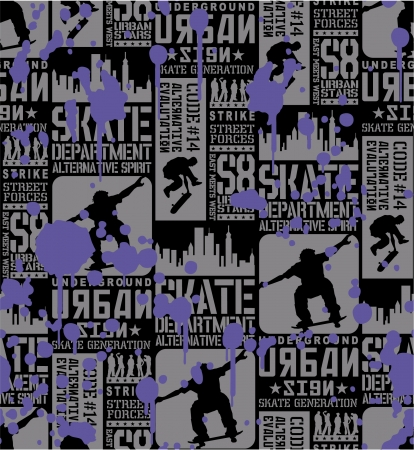 Urban Skateboarding - seamless pattern Vector