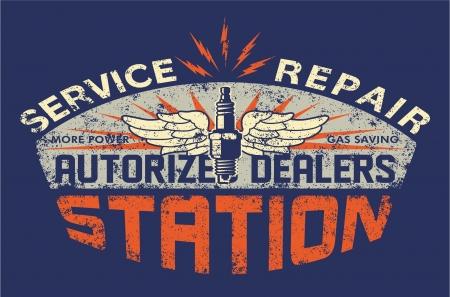 old service station: Stazione di servizio d'epoca cartello - opere d'arte per maglietta del ragazzo - Colori personalizzati - Deterioramento nel livello separato Vettoriali