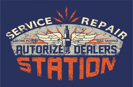 Service station vintage sign board - artwork for boy t shirt - Custom colors - distressed effect in separate layer