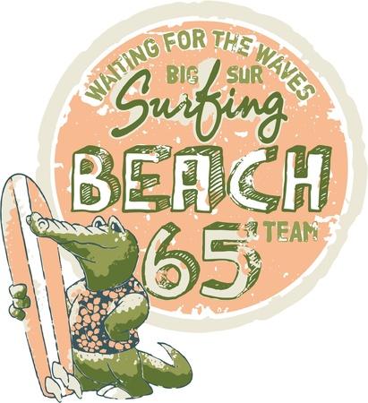 ワニ サーフィン - カスタム色の子供の摩耗のための印刷