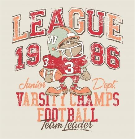 面白いゴリラ アメリカン ・ フットボール プレーヤー - 印刷カスタム色で子供たちを着用のために別のレイヤーにグランジ効果。  イラスト・ベクター素材