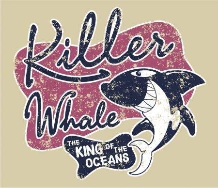 sport wear: Killer whale badge - artwork for children wear in custom colors, grunge effect in separate layer.